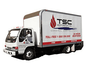 Truck belonging to TSC Restoration, a damage restoration company in San Diego