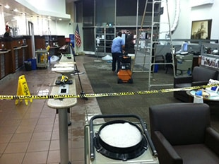 Commercial water damage restoration in a bank in downtown San Diego