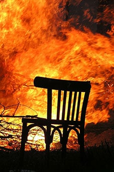 chair being damaged in a fire