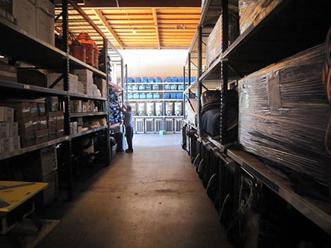 Warehouse in San Diego with water damage repair equipment and contents storage