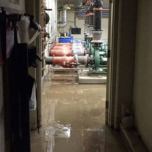 Flooded floor in the San Diego Marriott, before extraction