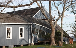 home with extensive storm damage