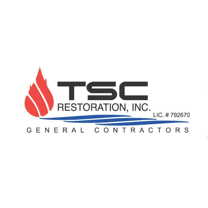 Logo for TSC Restoration, Inc., a San Diego damage restoration company offering flood, fire, and mold damage repair