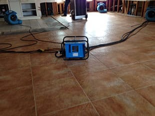 Drier system set up for water damage restoration in El Cajon