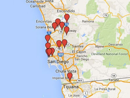 map of free sandbag pickups in San Diego