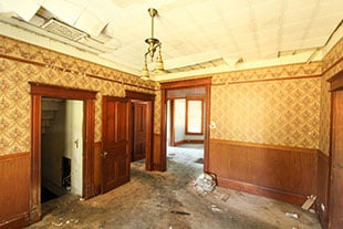 Damaged home interior before smoke damage repair in San Diego