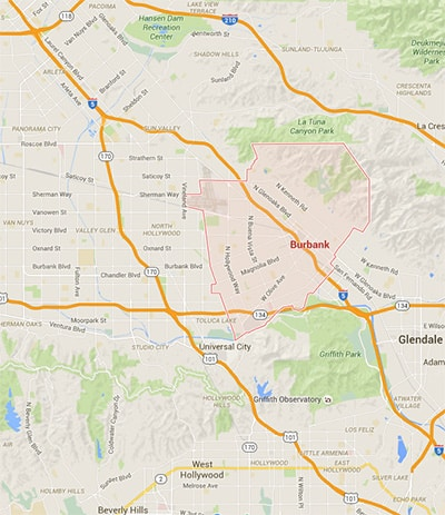 Map showing Burbank, Glendale, Sun Valley, Van Nuys, and Granada Hills CA