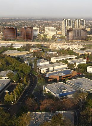 Aerial view of Santa Ana, CA, where we offer water damage restoration services.