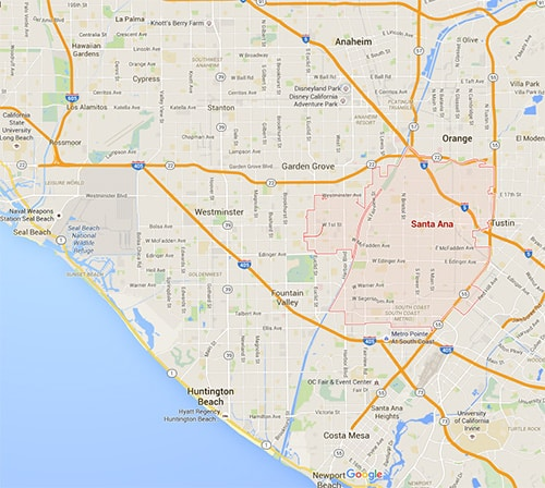 Map of Santa Ana and other cities we service in Orange County, including Anaheim, Garden Grove, Tustin, Irvine, and Mission Viejo