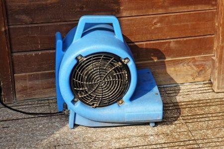 drier fan set up for a Burbank water damage restoration job