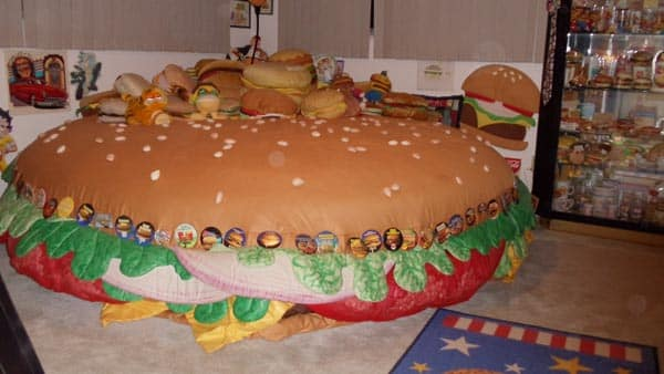 A water bed that looks like a giant cheeseburger