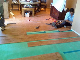 Installing hardwood flooring a reconstruction job
