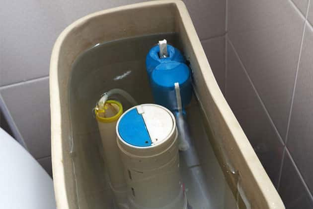 Full toilet tank and toilet float