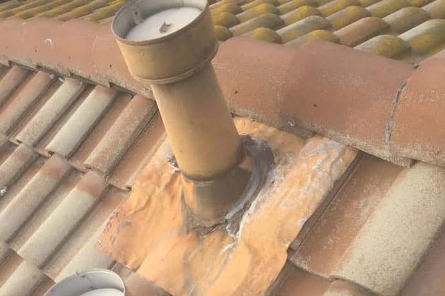 damaged roof flashing