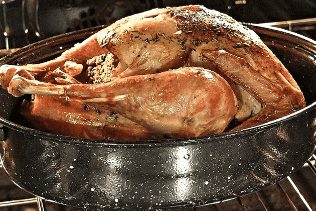 roasted turkey in the oven