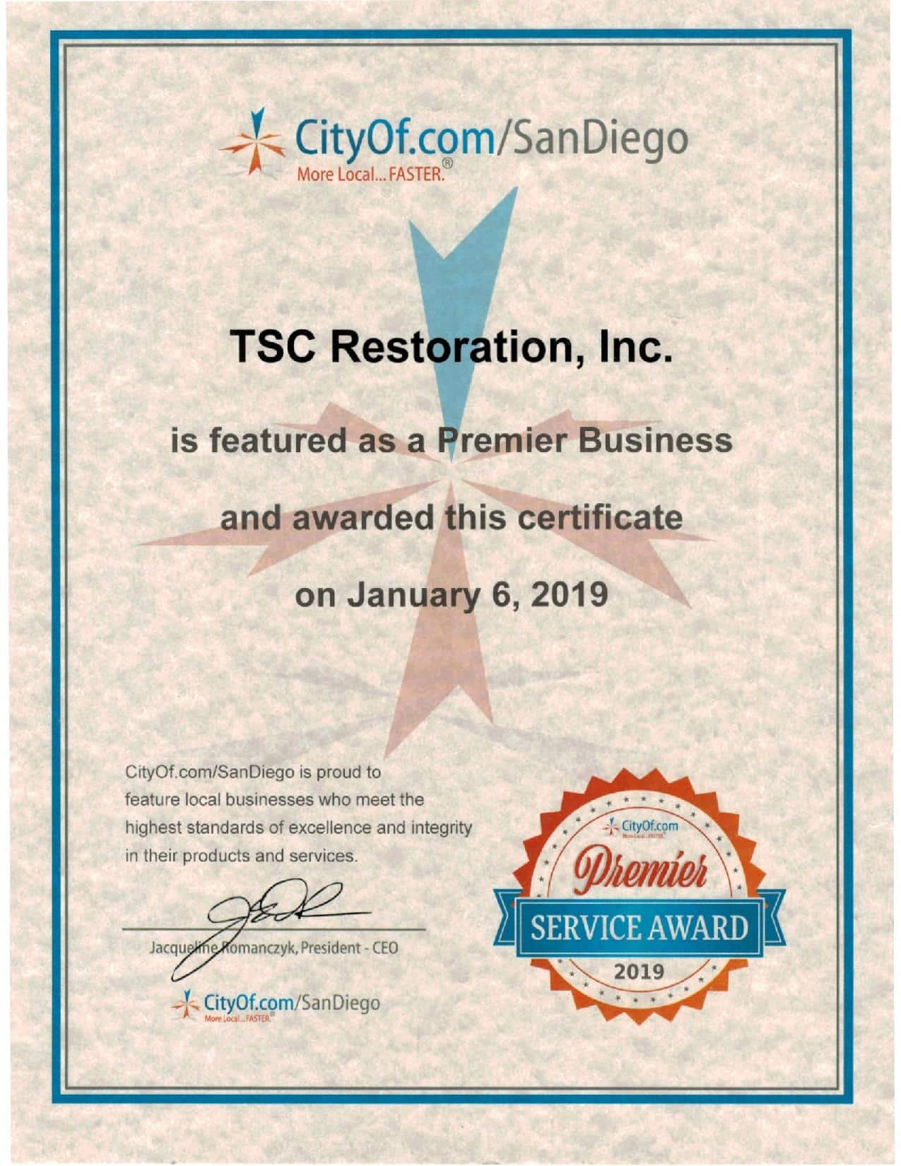 Premier Service Award from City Of San Diego 2019